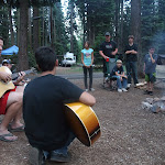 Pete gave guitar lessons around the campfire
