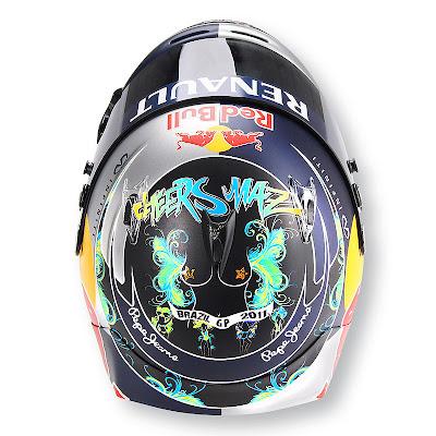 шлем Себастьяна Феттеля для Гран-при Бразилии 2011 - вид сверху