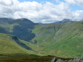 Langstrath Valley with Allen Crags and Great Gable.