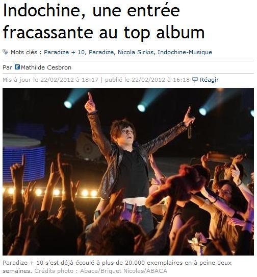 Indochine, un ingreso sensacional al top álbum