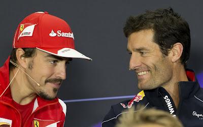 Фернандо Алонсо и Марк Уэббер на пресс-конференции в четверг на Гран-при Великобритании 2013