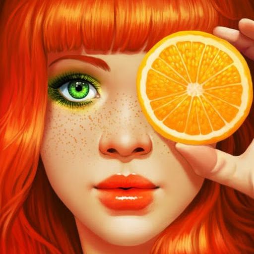 Яркая девушка с оранжевыми волосами и апельсин. яркая девушка с оранжевыми