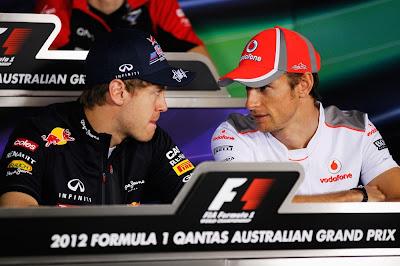 Себастьян Феттель и Дженсон Баттон на пресс-конференции в четверг на Гран-при Австралии 2012