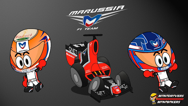 Шарль Пик и Тимо Глок Marussia MR01 Los MiniDrivers 2012