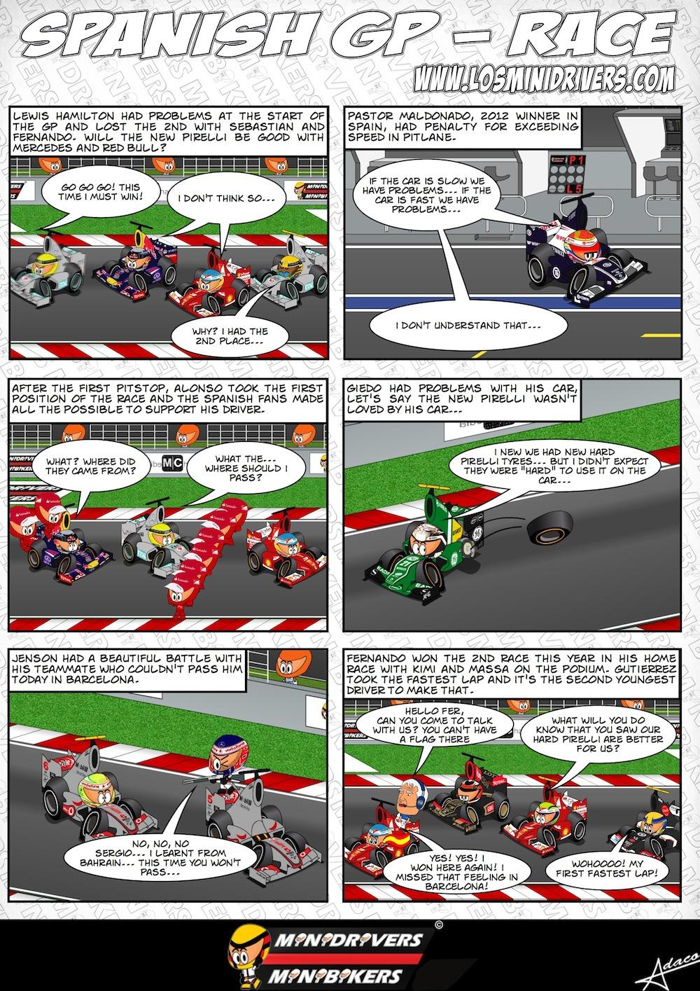 комиксы MiniDrivers по гонке на Гран-при Испании 2013