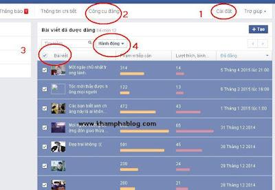 hướng dẫn xóa hết bài đăng trên fanpage facebook