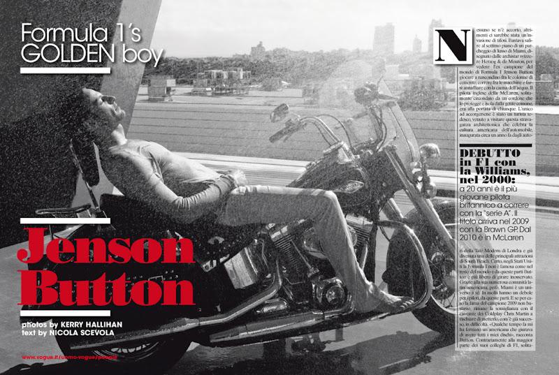 Дженсон Баттон лежит на мотоцикле - страница из журнала Vogue
