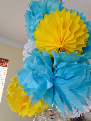 Yellow and turquoise paper flowers, yellow and turquoise bridal shower, the style sisters