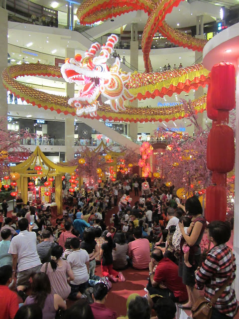 A big celebration in one of the shopping malls.