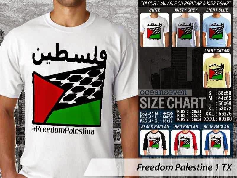 Kaos Muslim Islam Gaul Freedom Palestine 1 Freedom Palestina distro ocean seven