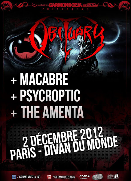 Obituary / Macabre / Psycroptic / The Amenta @ Divan du Monde, Paris 02/12/2012