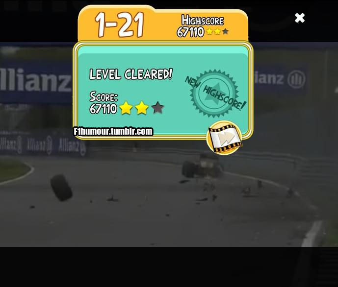 Хейкки Ковалайнен разбивает свой Caterham на свободных заездах Гран-при Канады 2012 и зарабатывает две звезды в Angry Birds - фотошоп F1Humour