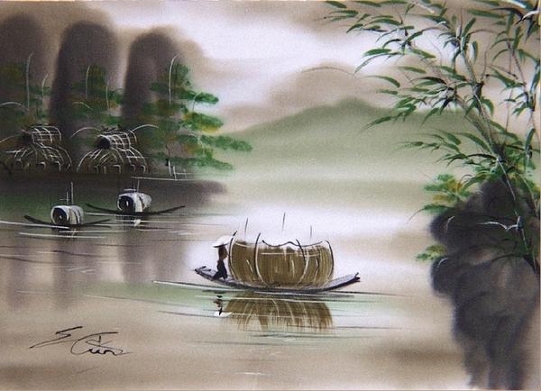 ảnh con đò và dòng sông