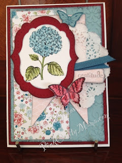 stampin up stampin' up! card cards floral flower butterfly butterflies feminine doily embossing twitterpated dsp red pink blue
