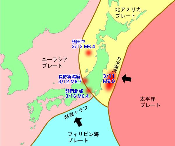 各プレートと今回の震源地相関図(元画像:職場と家庭の地震防災マニュアル) こうして震源とプレート