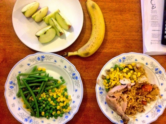 Green beans, peas and sweetcorn vs. roast chicken dinner!