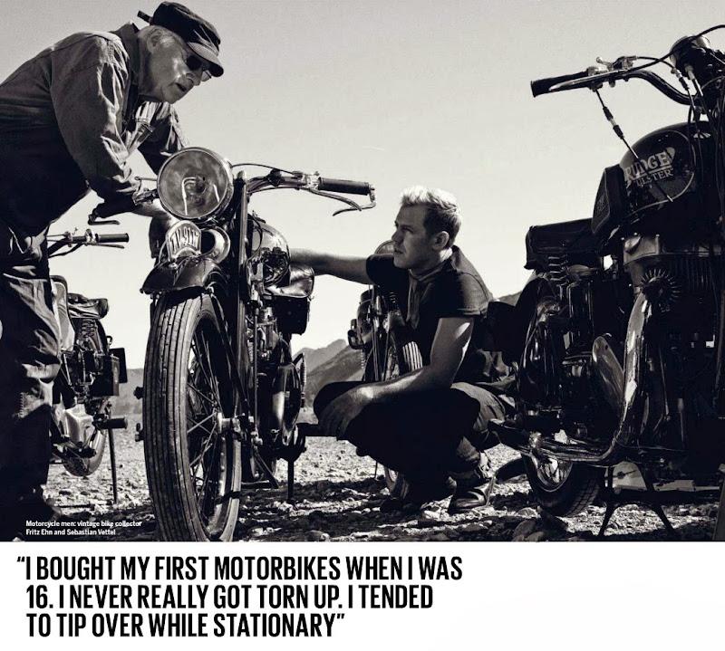 Себастьян Феттель и его классический мотоцикл - из журнала The Red Bulletin November 2013