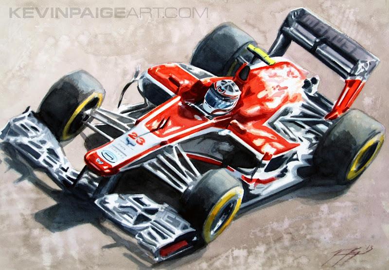 Макс Чилтон Marussia MR02 - рисунок Kevin Paige Art