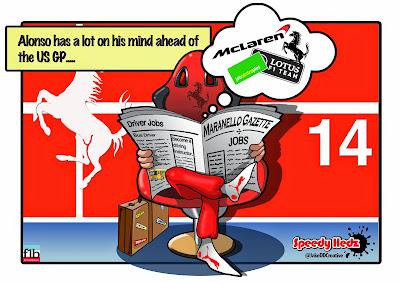 Фернандо Алонсо размышляет о будущем перед Гран-при США 2014 - комикс SpeedyHedz