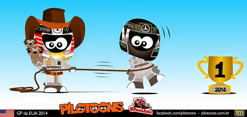 Льюис Хэмилтон приближается к заветному трофею - комикс pilotoons по Гран-при США 2014