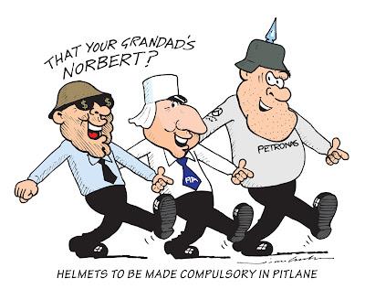Берни Экклстоун, Жан Тодт и Норберт Хауг в шлемах - комикс Jim Bamber