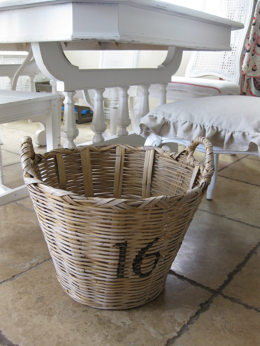 a numbered farmhouse basket