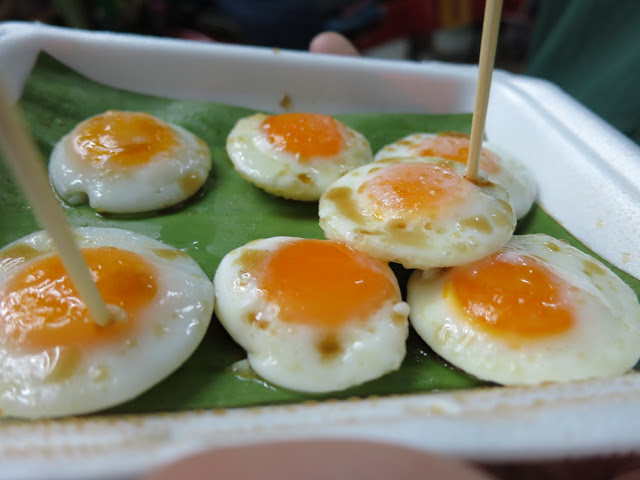 Yummy fried quail eggs - a cheap street eat in Thailand.