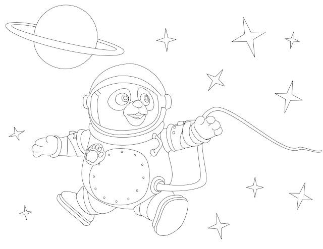 Special Agent Oso as Astronaut Coloring Page