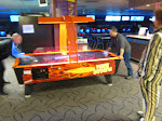 Drummers face off at air hockey, not bowling