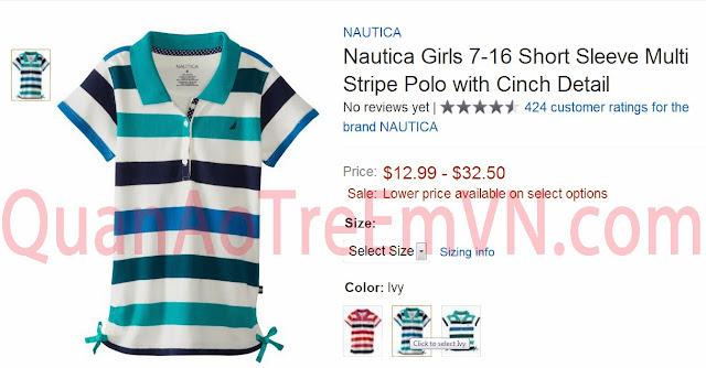 Áo thun Nautica bé gái, hàng xuất xịn, size từ 5T đến 12T, sọc xanh.w2