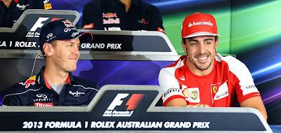 Себастьян Феттель и Фернандо Алонсо на пресс-конференции в четверг на Гран-при Австралии 2013