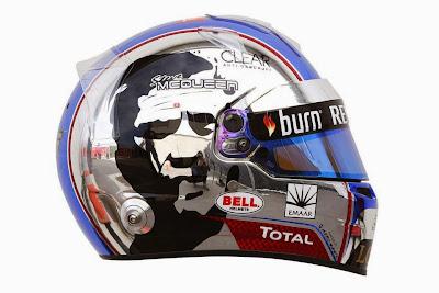 шлем Ромэна Грожана с символикой Стива Маккуина на Гран-при США 2013