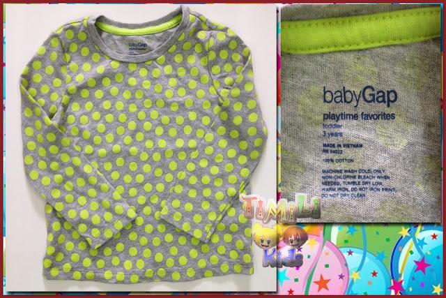 Áo thun bé gái hiệu babyGap, hàng xuất xịn, made in vietnam, chấm bi xanh.