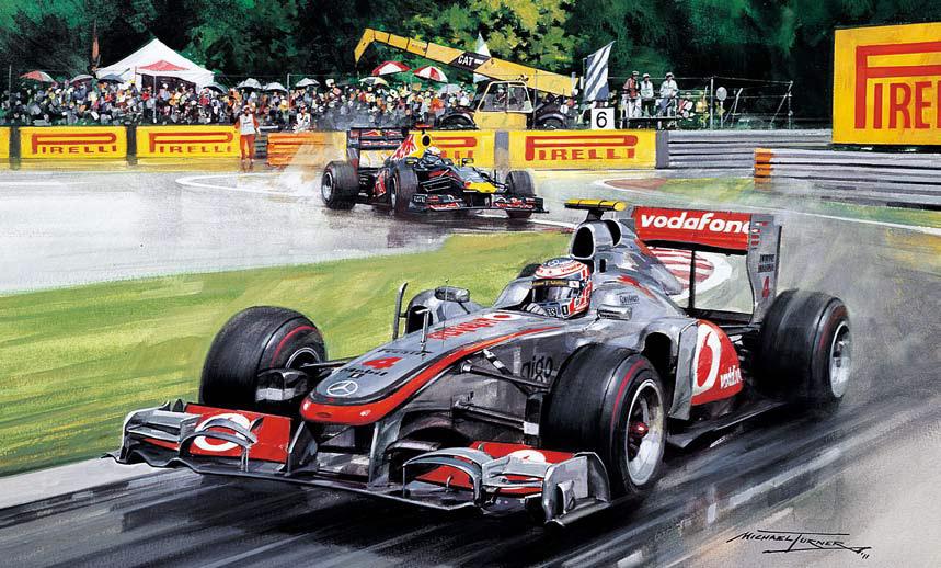 картина Michael Turner о последнем круге Дженсона Баттона и Себастьяна Феттеля на Гран-при Канады 2011 в Монреале