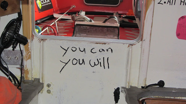 Inspirational messages written by Kiwi Rob Hamill inside the row boat he used to row across the Atlantic.