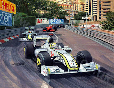 Дженсон Баттон и Рубенс Баррикелло лидируют на Гран-при Монако 2009 за Brawn GP - картина Michael Turner