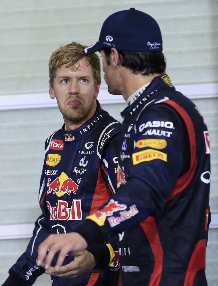 Себастьян Феттель и Марк Уэббер после квалификации на Гран-при Абу-Даби 2012