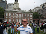 In front of Independence Hall, along with the Marines who were filming one of their commercials at the time