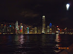 Views of Victoria Harbor from the Kowloon side at night