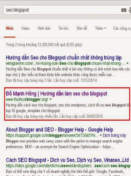 Hướng dẫn cách seo blogspot lên top 10 google