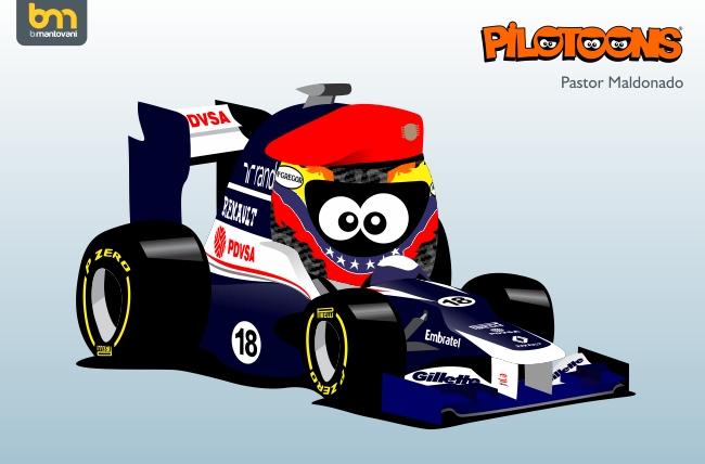 Пастор Мальдонадо Williams FW34 pilotoons 2012
