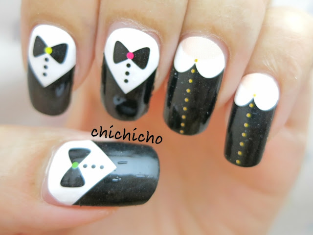 Tuxedo and Blouse Nail Wrap Nail Art