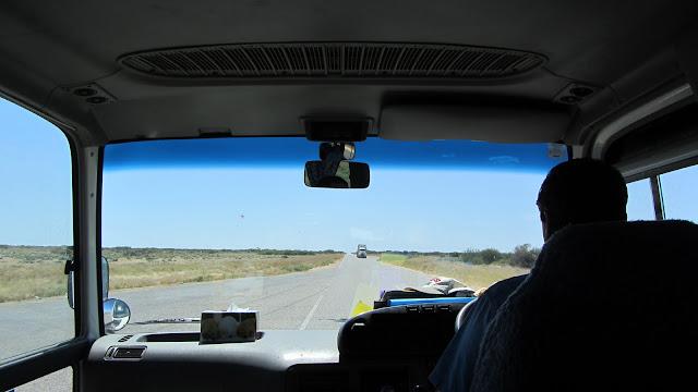 Looking over Terry's shoulder on the barren North West Coastal Highway.