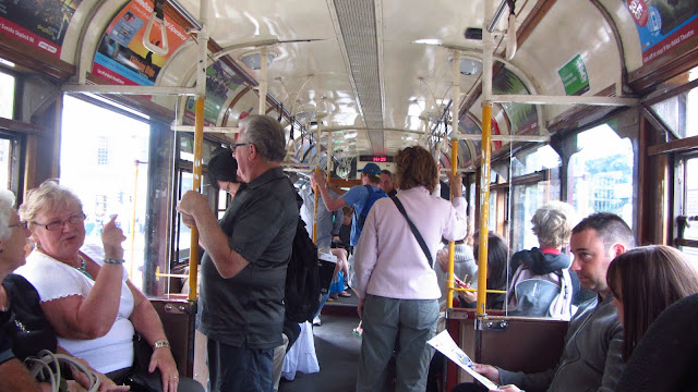 Inside one of Melbourne's classic trolley cars.