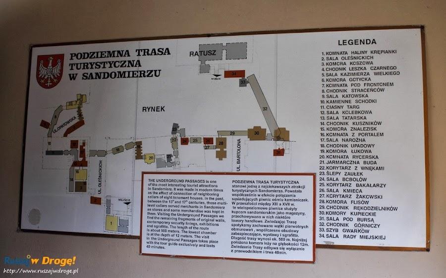 Sandomierz nad Wisłą - mapa podziemnej trasy