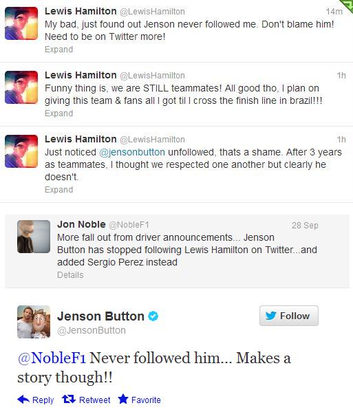 Льюис Хэмилтон и Дженсон Баттон в твиттере