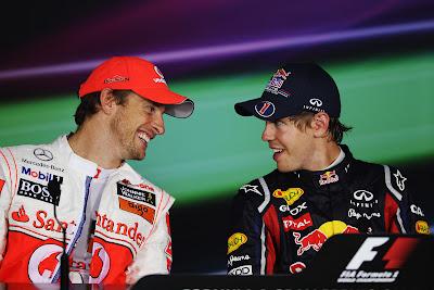 Дженсон Баттон и Себастьян Феттель на пресс-конференции Гран-при Италии 2011 после гонки в Монце
