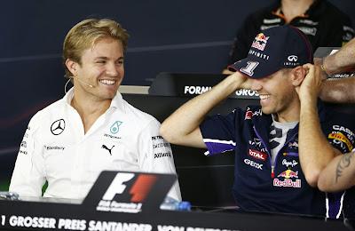 Нико Росберг и Себастьян Феттель на пресс-конференции в четверг на Гран-при Германии 2014