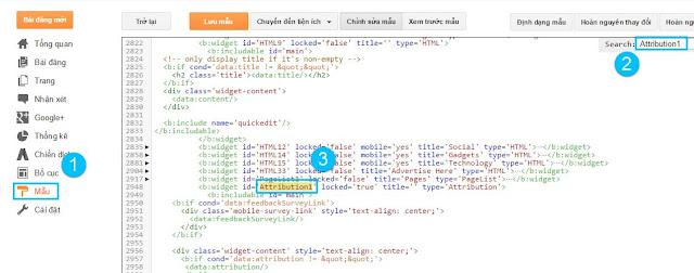 Xóa phần cung cấp bởi blogger cho blogspot