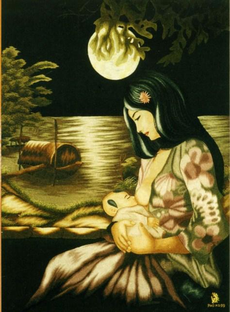 tranh vẽ mẹ cho con thơ bú sữa
